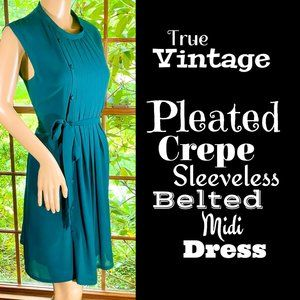 🆕VTG▪️Pleated Crepe Sleeveless Belted Midi Dress